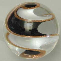 Black, White, and Goldstone ribbon marble by Chuck Pound