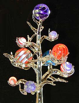 Glass marble tree with marbles by Chuck Pound